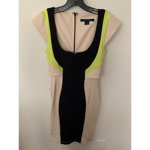 French Connection Beige/Navy/Neon Yellow Dress